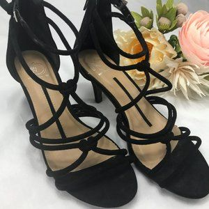 NEW DIRECTIONS Black Suede Strappy Sandals Size 7